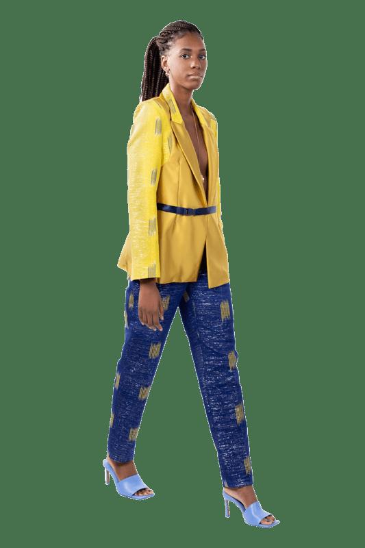bleu,electrique,coton,jaune,style élégant,pièce unique,pantalon feminin