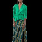 cache coeur,verte,jupe,féminine,nouvelle collection,couleur,tissu imprimé,fente,taille haute,élégante,soirée,évènement chic,créateur,pièce unique,sur mesure,haute couture