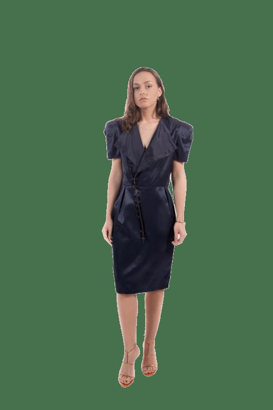 epaulettes design,bleu-marine,feminité,perfecto,pièce unique,manches courtes,silhouette soulignée,robe perfecto,la petite robe noire,dressing,tenue de soirée